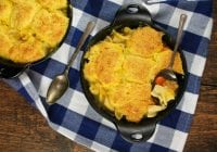 Cheesy Cornbread Chicken Noodle Pot Pie