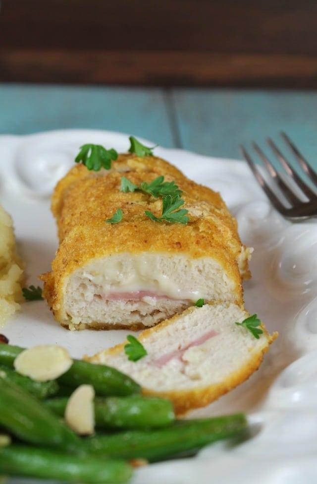 Barber Foods Cordon Bleu + Almond Green Beans Recipe ~ MissintheKitchen.com #ad