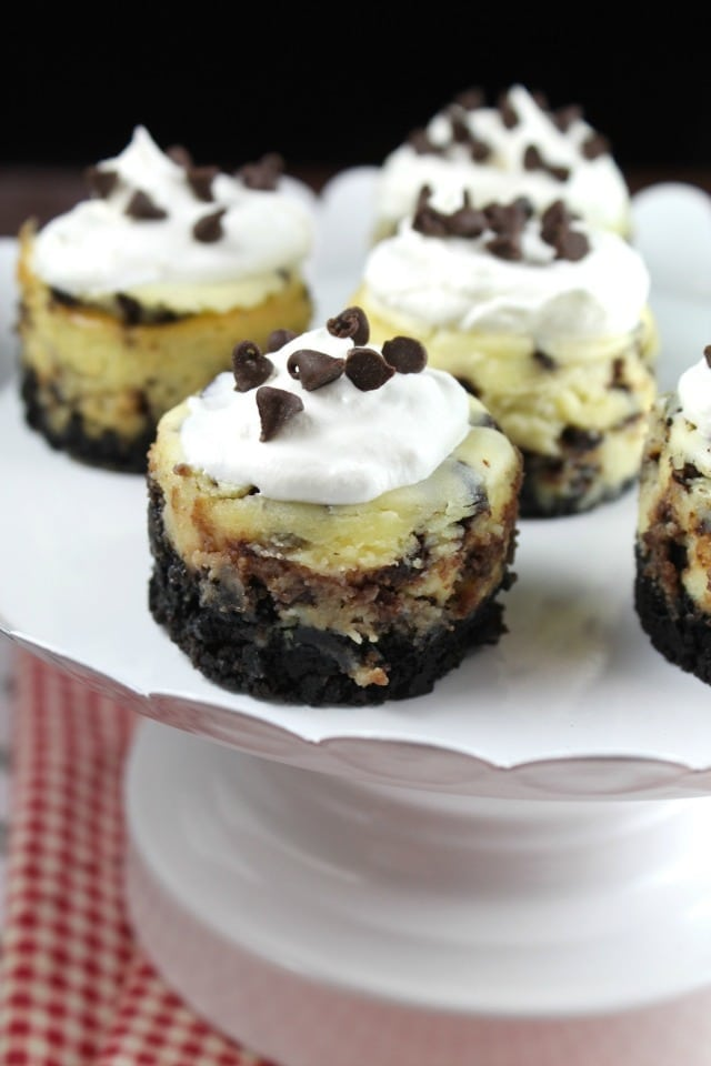 Mini Chocolate Chip Cheesecakes Recipe found at MissintheKitchen.com