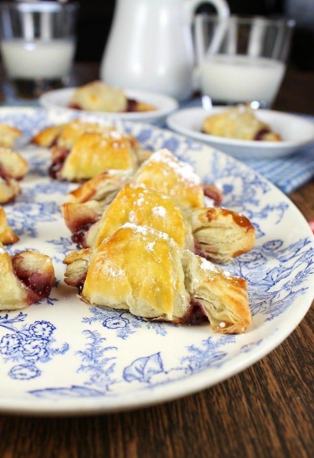Mini Raspberry Croissants from French Desserts by Hillary Davis ~ Easy dessert recipe found at MissintheKitchen.com