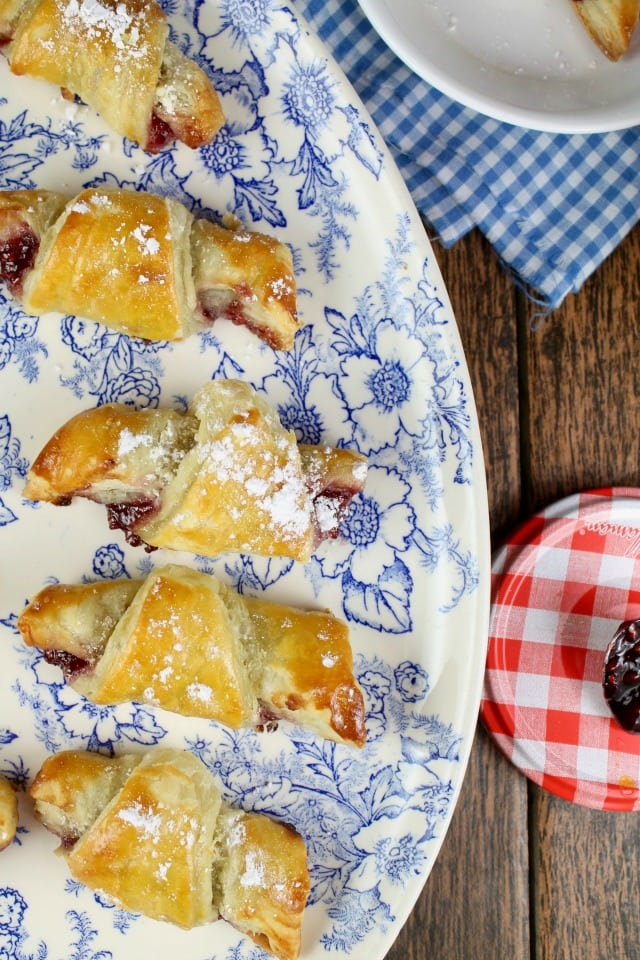 Mini Raspberry Croissants are a fabulous anytime dessert from French Desserts ~ MissintheKitchen.com