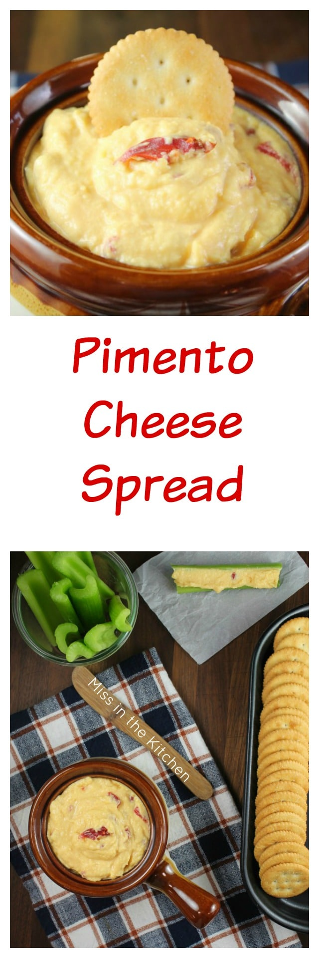Pimento Cheese Spread Appetizer Recipe for family parties and holiday dinners from MissintheKitchen.com
