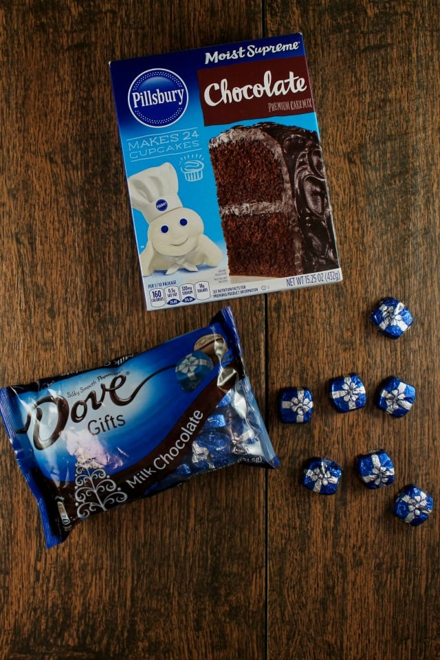 Triple Chocolate Snack Cake made with Pillsbury Super Moist Cake Mix and Dove Chocolate Gifts from MissintheKitchen.com #ad