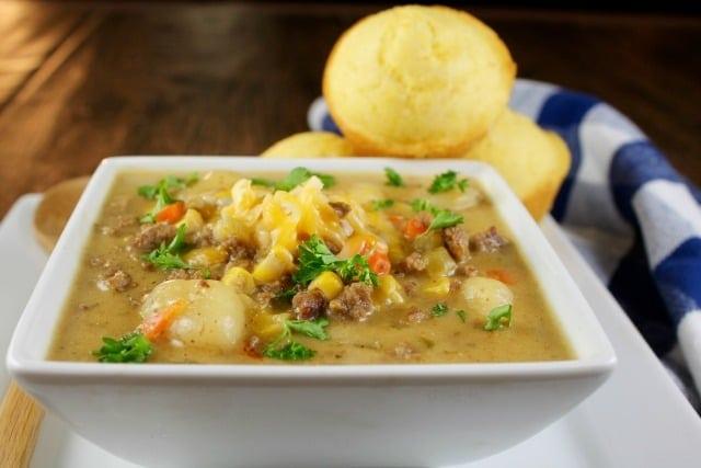 Cheeseburger Gnocchi Soup recipe ~ delicious comfort food ~ MissintheKitchen.com