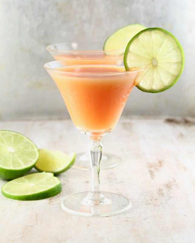 Rum Sunset Cocktail Recipe ~ Easy 3 ingredient cocktail for any celebration ~ MissintheKitchen.com