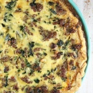 Sausage Spinach Quiche Recipe ~ MissintheKitchen.com