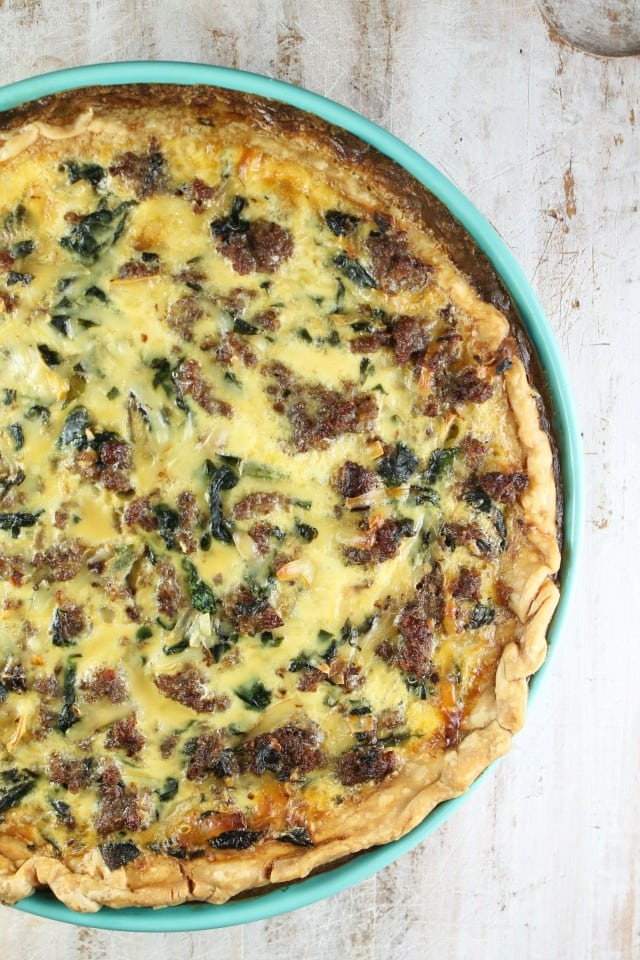 Sausage Spinach Quiche Recipe from MissintheKitchen.com