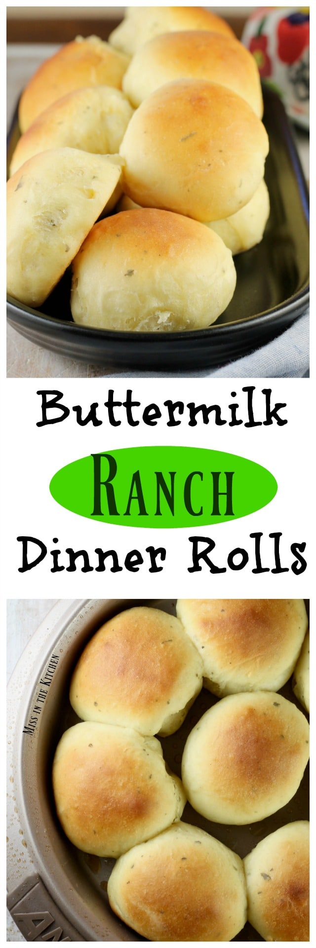Buttermilk Ranch Dinner Rolls Recipe ~ amazing homemade dinner rolls for everyday and holiday dinners. Recipe from MissintheKitchen.com > Sponsored by Red Star Yeast