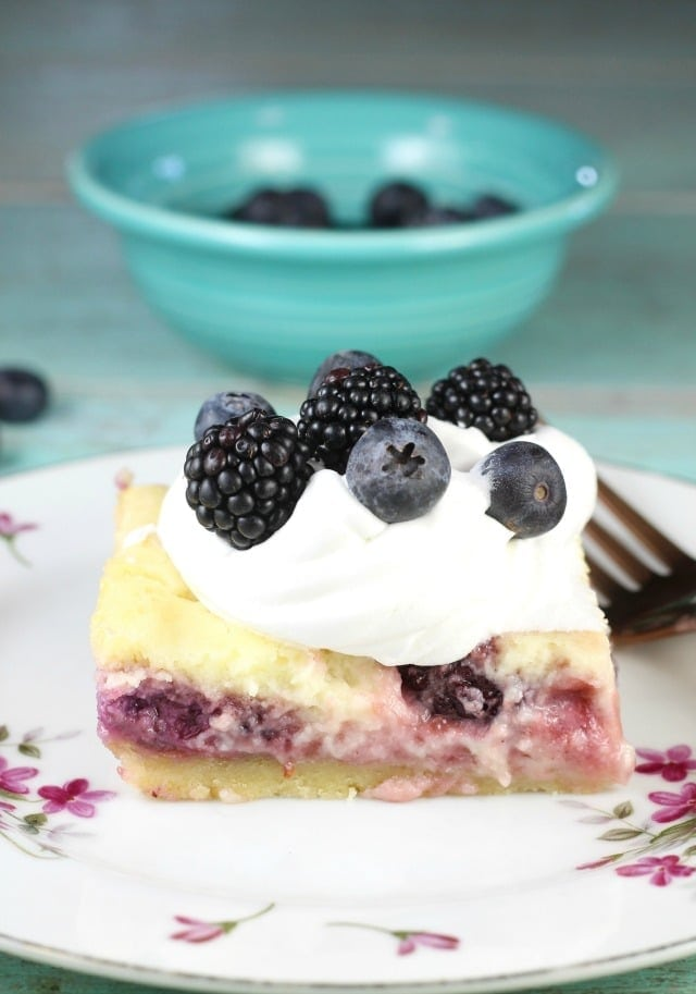 Berry Cheesecake Bars Recipe for an easy dessert any day of the week. From MissintheKitchen.com