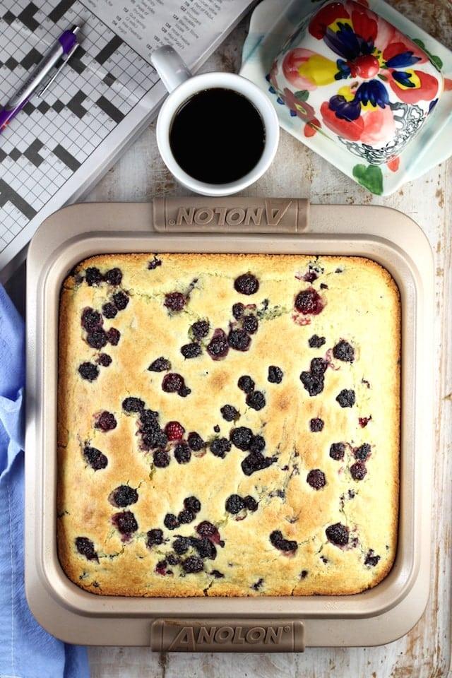 Easy breakfast idea ~ Blackberry Cornbread Recipe ~ MissintheKitchen.com