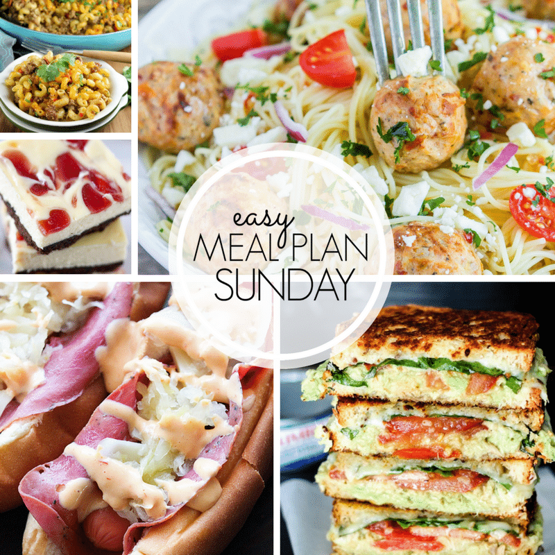 Easy Meal Plan Sunday {Week 101} will help you get dinner on the table in no time at all. This week you will find 6 Dinners, 1 Breakfast, 1 Healthier Meal and 2 Desserts. Come back every Sunday for a new set of recipes ideas! This week includes my Zesty Taco Bake! MissintheKitchen.com