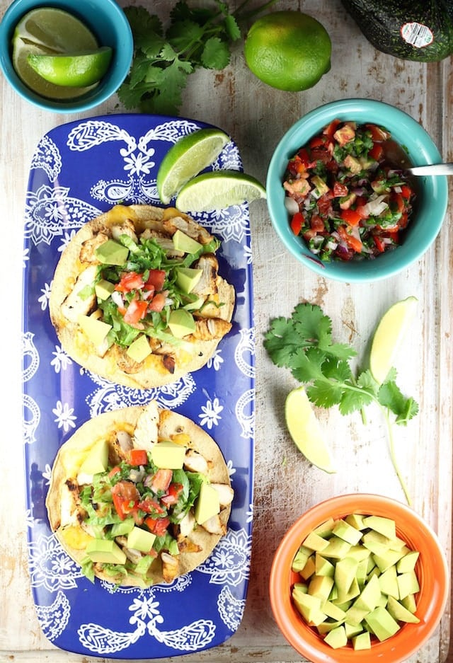 Recipe for Grilled Chicken Tostadas from MissintheKitchen.com