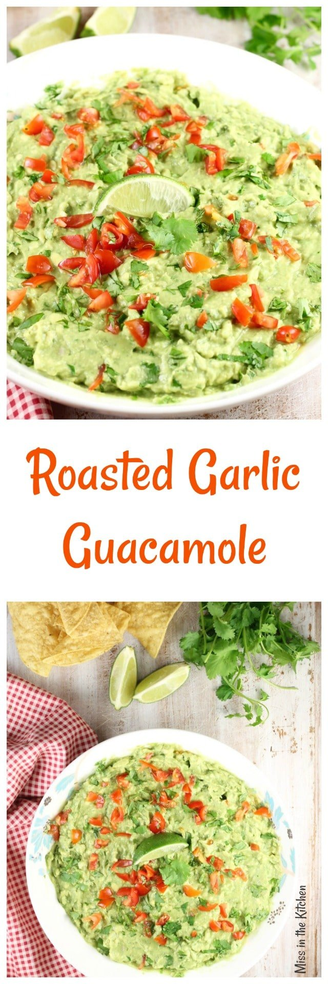 Roasted Garlic Guacamole Recipe ~ Delicious appetizer or served with your favorite Mexican dishes from MissintheKitchen.com