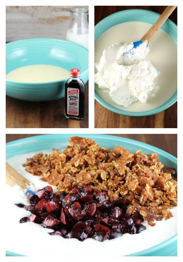 Stirring together Cherry Crisp Ice Cream from MissintheKitchen.com #SummerDessertWeek