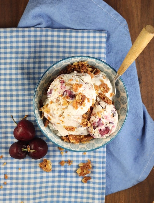 Cherry Crisp Ice Cream Recipe from MissintheKitchen.com #SummerDessertWeek