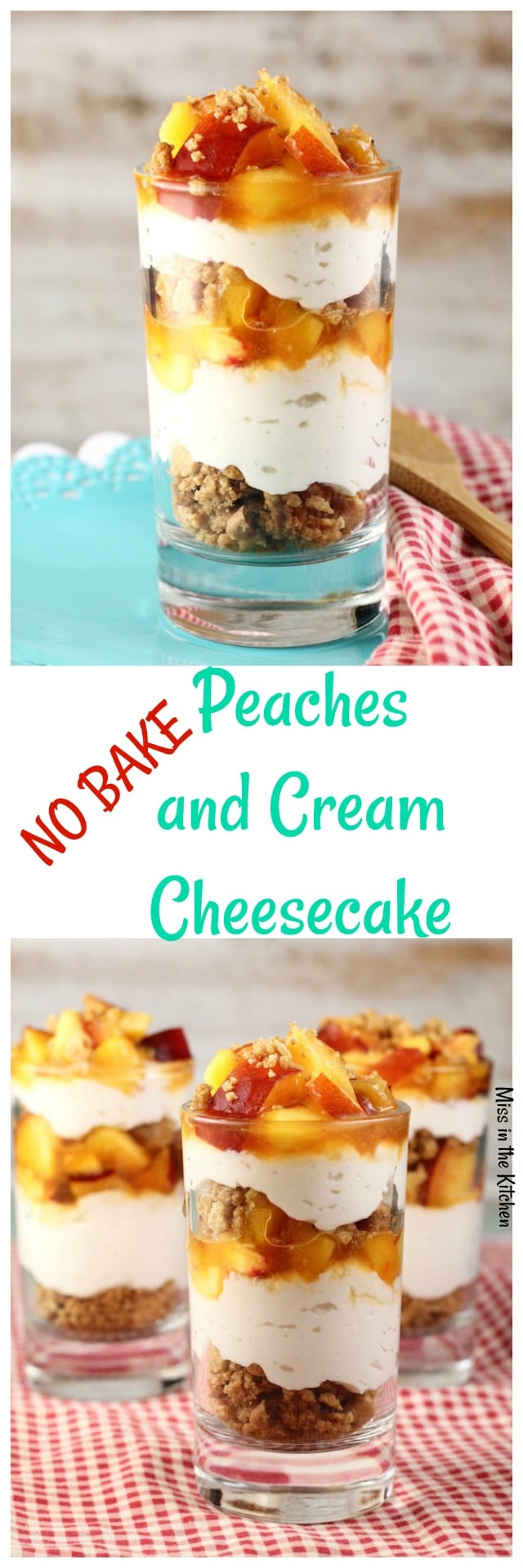 No Bake Peaches and Cream Cheesecake is a delicious dessert for any summer occasion. Recipe from MissintheKitchen.com #ad #SummerDessertWeek