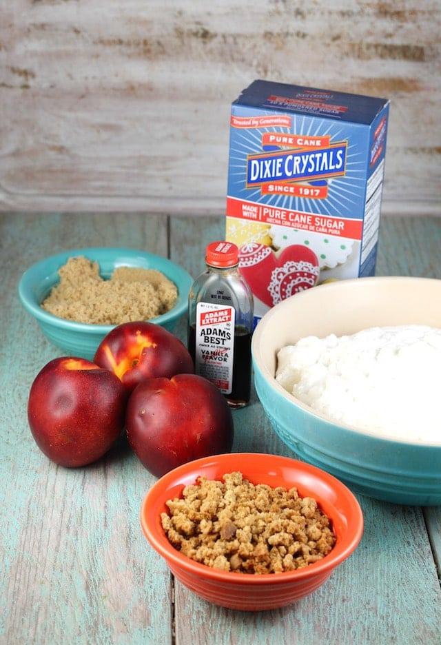 Ingredients for Peaches and Cream Cheesecake from MissintheKitchen.com #SummerDessertWeek