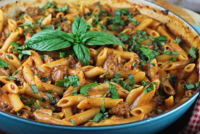 One Pot Sausage Penne Pasta Recipe ~ Miss in the Kitchen #sponsored by Barilla