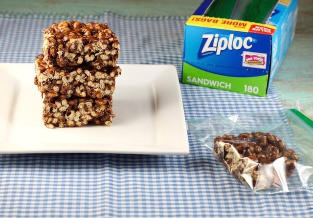 Chocolate Peanut Butter Cereal Bars ~ A favorite after school snack ~ MissintheKitchen.com #BoxTops Sponsored by Walmart