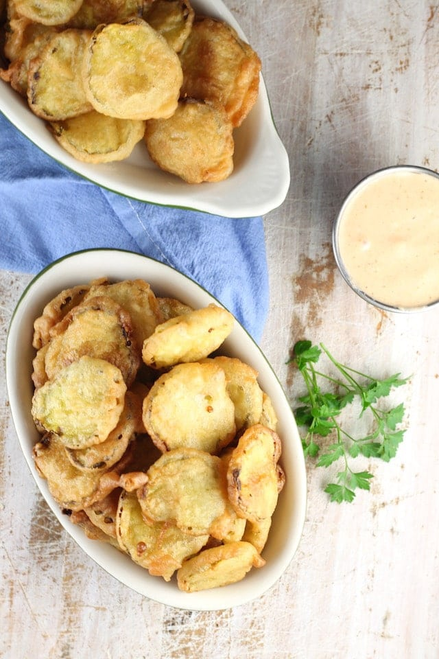 Recipe for Fried Pickles ~ a game day favorite! appetizer from MissintheKitchen.com