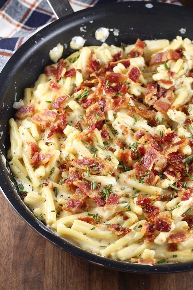 Bacon White Cheddar Pasta Recipe is a delicious dish for any night of the week. From MissintheKitchen.com