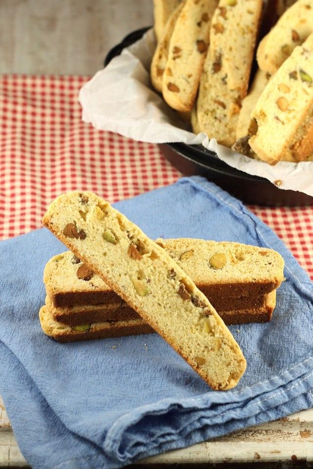 Lemon Pistachio Biscotti Recipe from MissintheKitchen.com #cookies #holiday