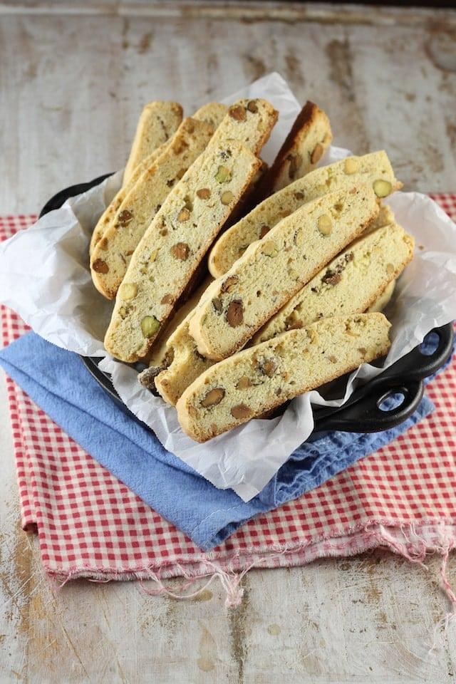 Lemon Pistachio Biscotti Recipe from MissintheKitchen.com #holiday #cookies #baking