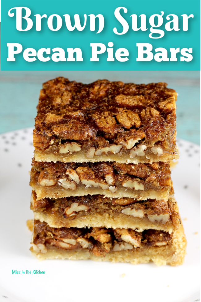 Brown Sugar Pecan Pie Bars cut into squares for serving