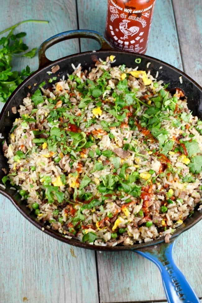 Christmas Brisket Fried Rice Recipe from Bringing it Home ~ MissintheKitchen.com #brisket #friedrice