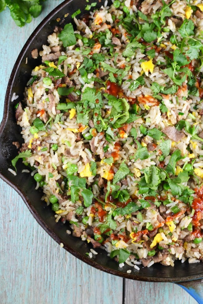 Christmas Brisket Fried Rice Recipe from MissintheKitchen.com #brisket #friedrice #cookbook