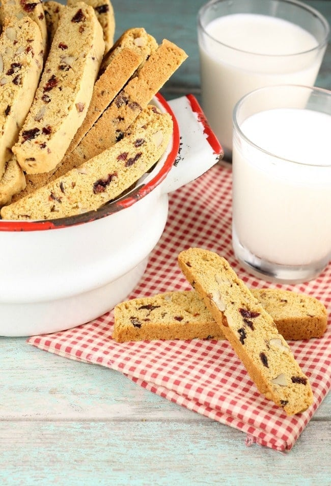 Cranberry Pecan Biscotti Recipe is the perfect holiday cookie! From MissintheKitchen.com #christmascookies #christmas #cranberry #pecans