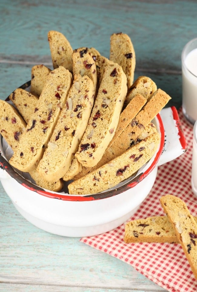 Cranberry Pecan Biscotti Recipe is perfect to bake and share for the holidays! From MissintheKitchen.com #cookies #biscotti #Christmas #christmascookies #pecans #cranberries