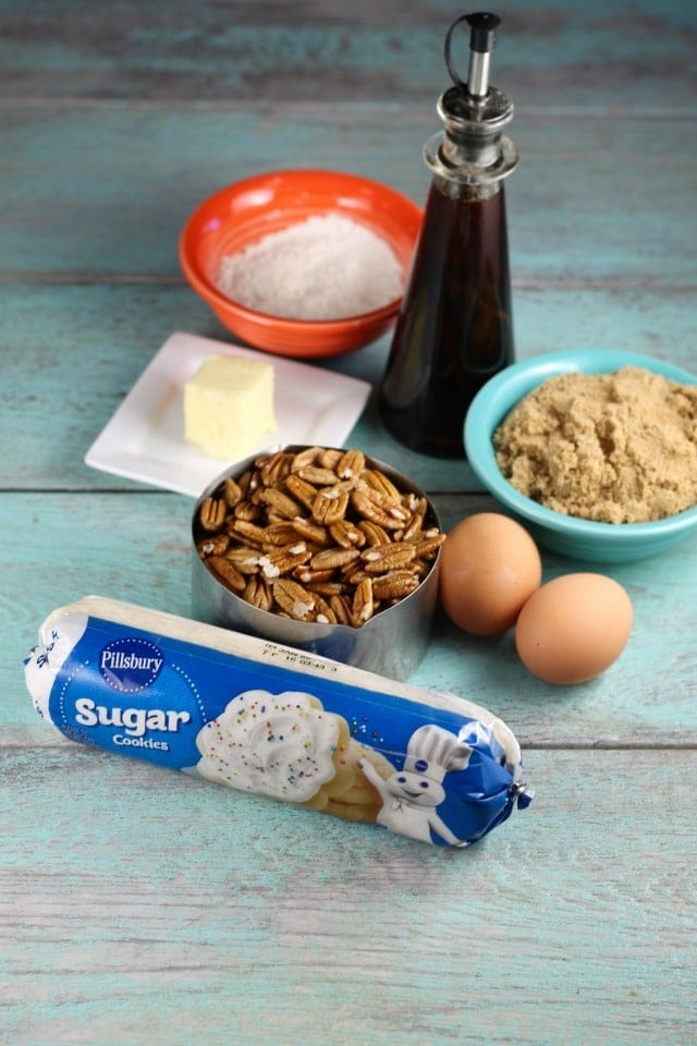Ingredients for Brown Sugar Pecan Pie Bars Recipe from MissintheKitchen.com #AD @Pillsbury @Walmart