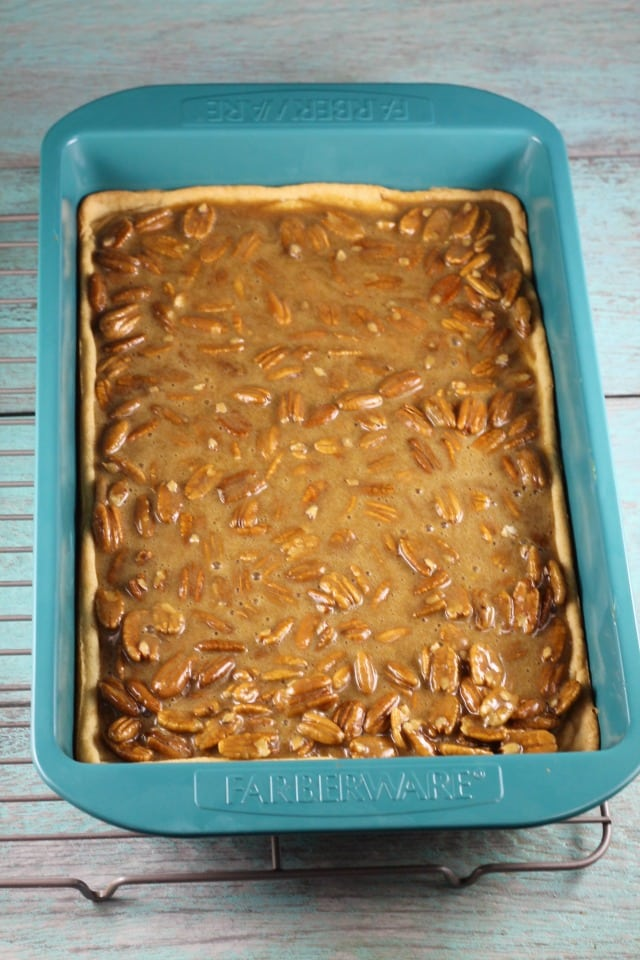 Ready for the Oven - Brown Sugar Pecan Pie Bars Recipe ~ MissintheKitchen.com #AD