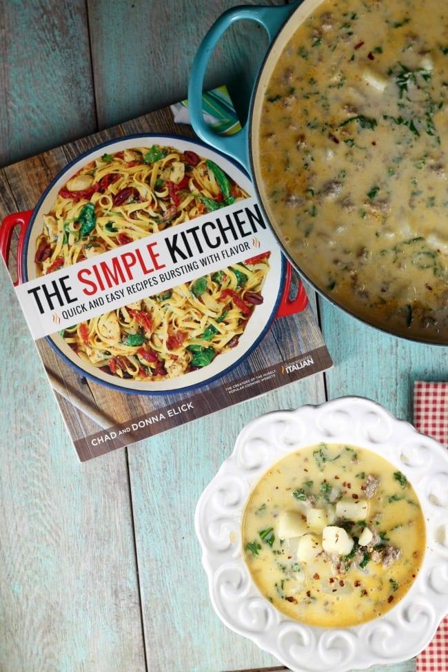 The Simple Kitchen Cookbook ~ Tuscan Sausage Potato Soup Recipe ~ MissintheKitchen.com #recipe #soup #tuscan