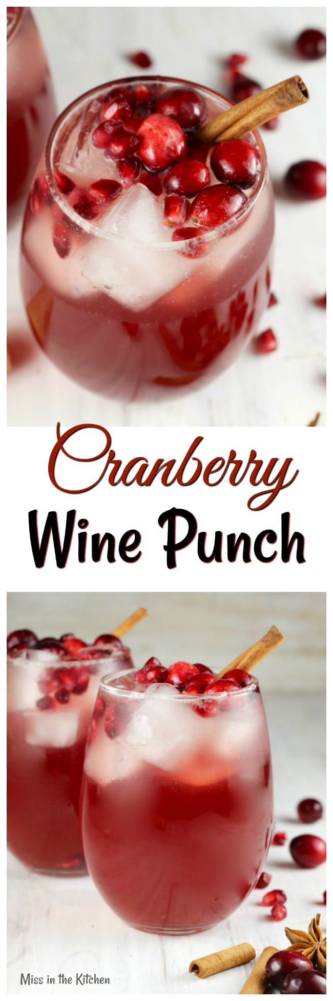 Cranberry Wine Punch Recipe ~ Easy large batch white wine cocktail ~ Perfect for parties ~ MissintheKitchen.com #ad #Llanowine #whitewine #cranberry #holiday #cocktail