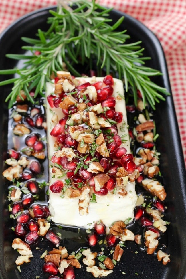 Pomegranate Pecan Party Appetizer Recipe from MissintheKitchen.com #party #appetizer #pecan #pomegranate #Christmas