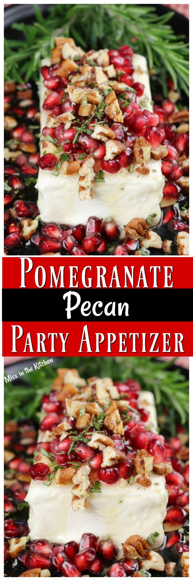 Pomegranate Pecan Party Appetizer Recipe from MissintheKitchen ~ Easy 5 minute, 5 ingredient #recipe #holiday #appetizer #Christmas