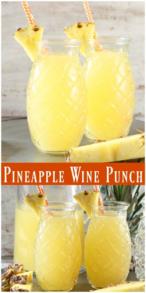 Easy Pineapple Wine Punch Photo Collage