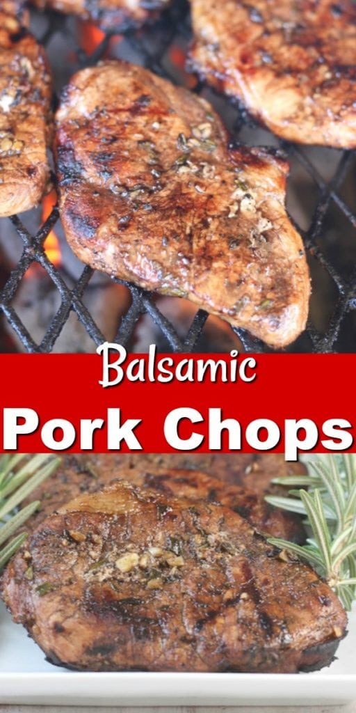 Balsamic Pork Chops ~ Easy marinade with garlic and rosemary. Great for grilling or baking. #grilling #porkchops