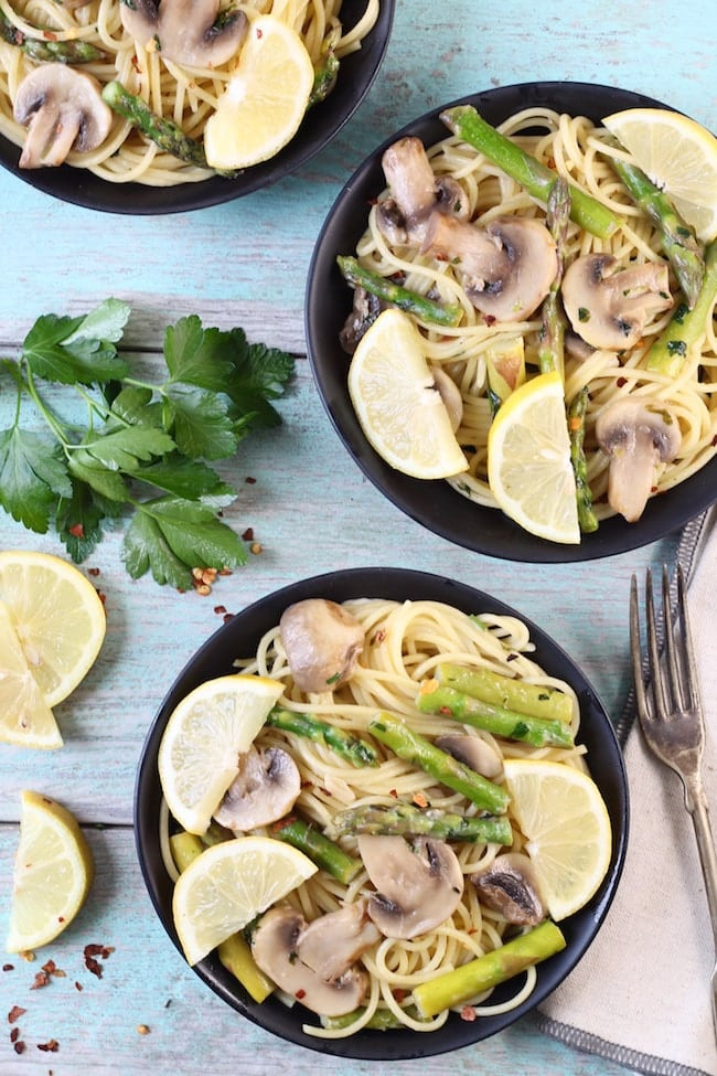 Lemon Parsley Angel Hair Pasta + Asparagus + Mushrooms