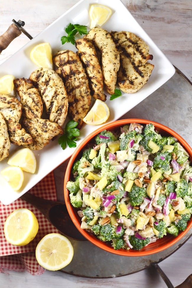 Broccoli Pineapple Salad with Cooked Perfect Fire Grilled Lemon Herb Chicken