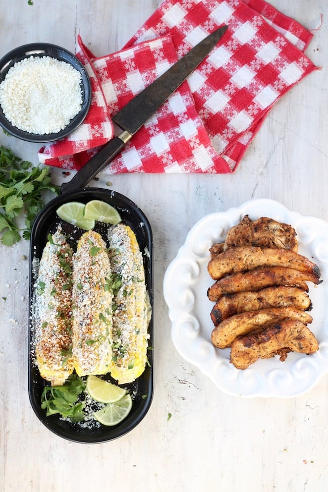 Grilled Mexican Street Corn with Honey Chicken