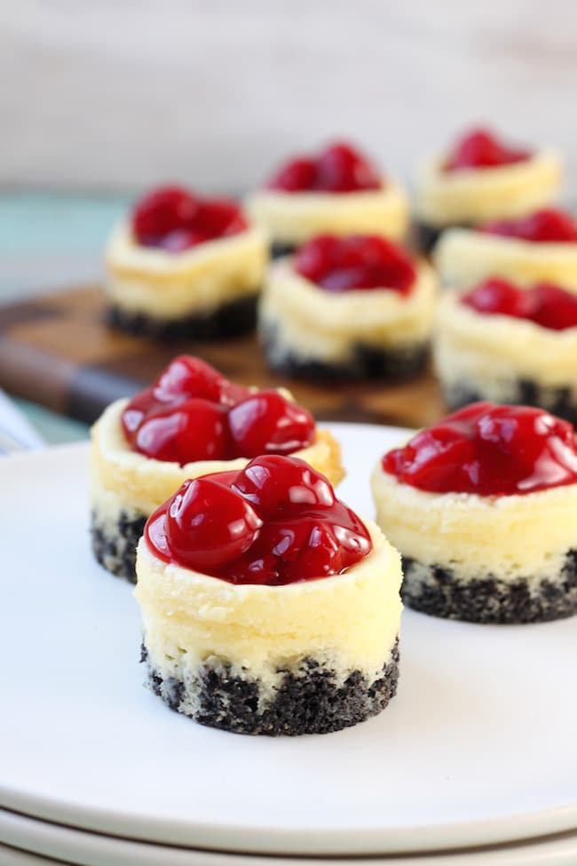 Mini Cherry Cheesecakes with Oreo Crust