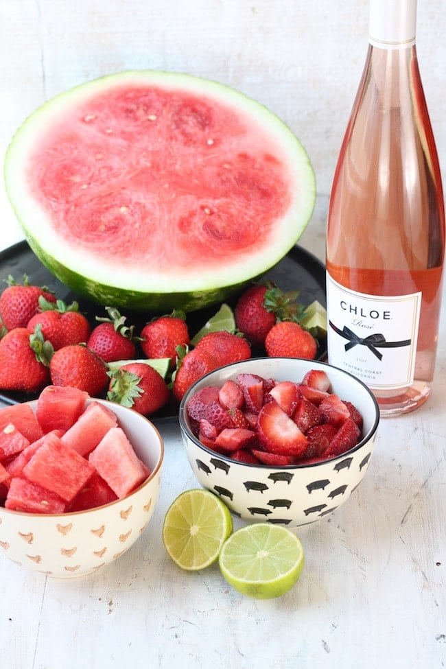Ingredients for Strawberry Watermelon Frose