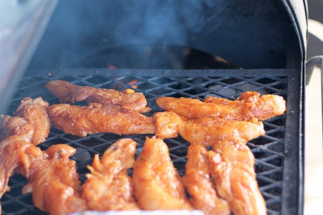 Spicy Honey Grilled Chicken Tenders on the Grill