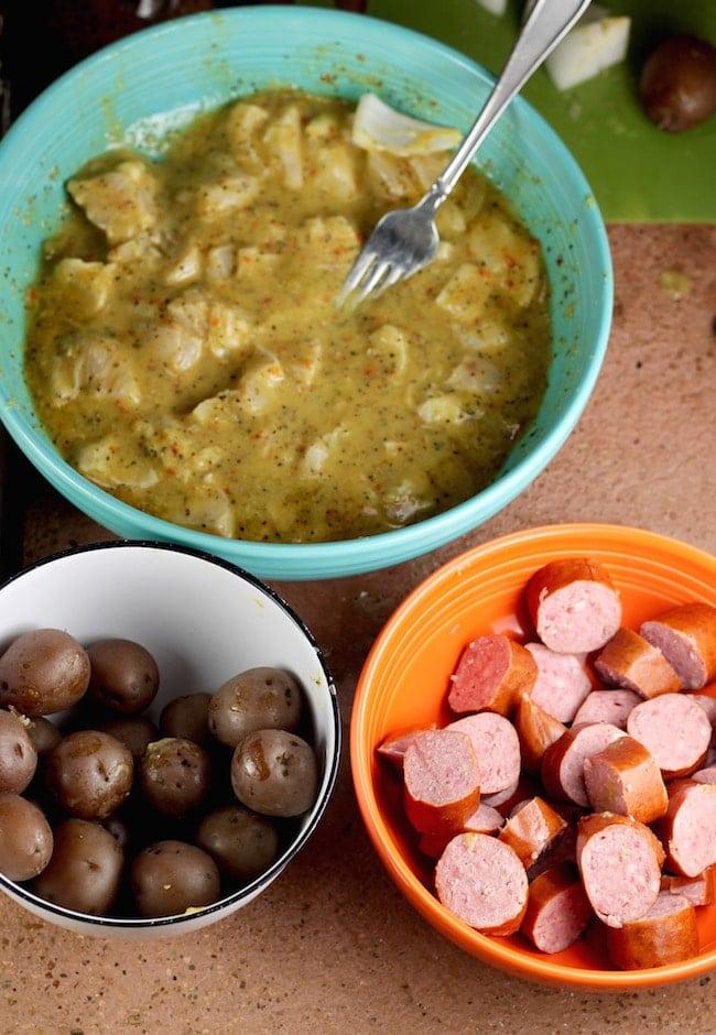 ingredients for Chicken, Smoked Sausage & Potato Kabobs