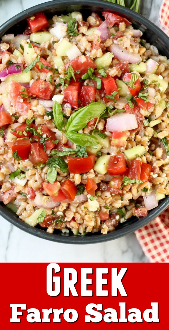 Easy Greek Farro Salad with fresh tomatoes and fresh herbs