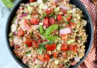 Greek Farro Salad with cucumbers, tomatoes, red onion and lemon vinaigrette