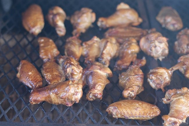 Hickory Smoked Chicken Wings on the grill